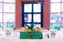 Bride and Groom's Table with repurposed toolbox (it was Grampa's).