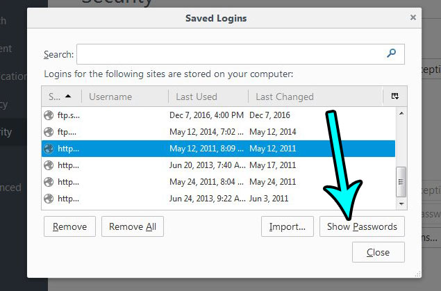 how to view saved passwords in firefox