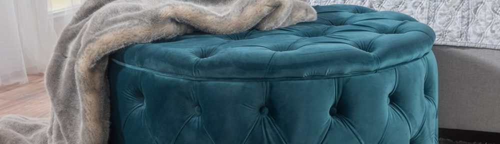 provence teal tufted new velvet ottoman