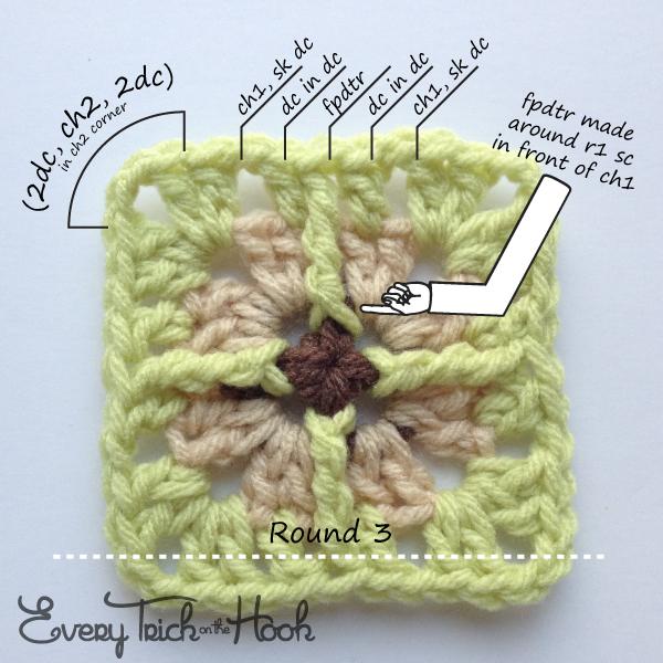 Victor, crochet pattern, round 3