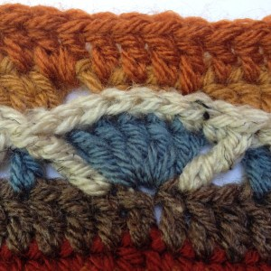 Closeup detail of Maude with stitches worked into third loop
