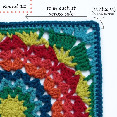 Marigold crochet afghan block pattern photo tutorial round 12