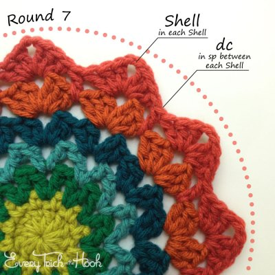 Marigold crochet afghan block pattern photo tutorial round 7