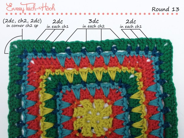 Spiked Punch crochet afghan block pattern photo tutorial round 13