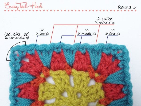 Spiked Punch crochet afghan block pattern photo tutorial round 5