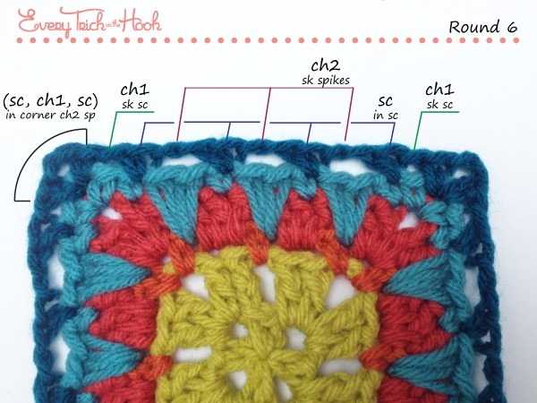Spiked Punch crochet afghan block pattern photo tutorial round 6