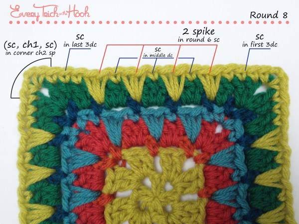 Spiked Punch crochet afghan block pattern photo tutorial round 8