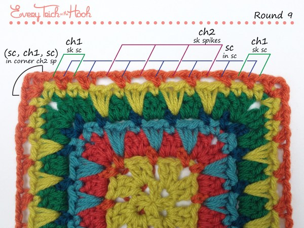 Spiked Punch crochet afghan block pattern photo tutorial round 9