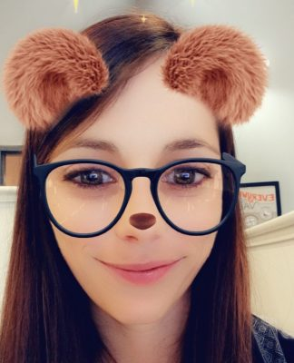 Holly Edwards with bear snapchat filter