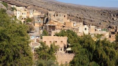 Blick auf das Dorf Misfah im Oman