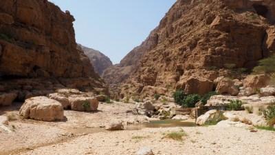 Überblick über das Wadi Shab im Oman
