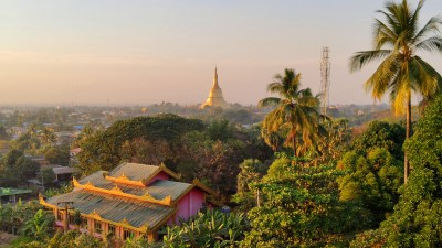 Sunset over Shwemawdaw Pagoda in Bago