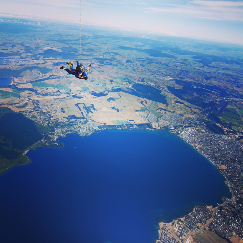 Flying over Lake Taupo