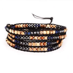 Jasper and Lapis Wrap Bracelet