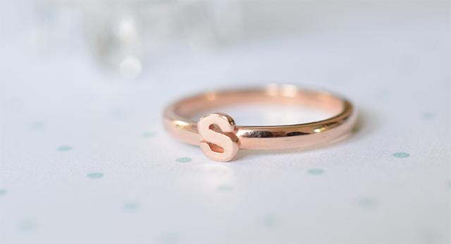 Rose Gold Lowercase Stackable Initial Ring