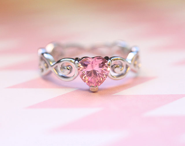Pink Heart Ring with Sterling Silver Swirl Design