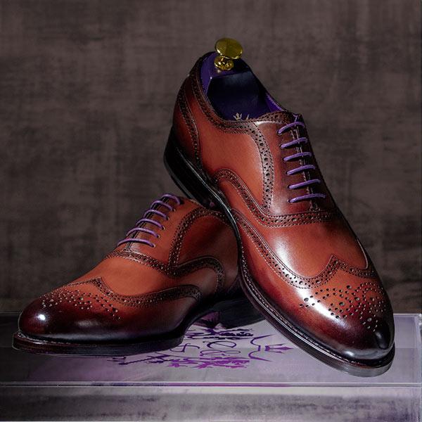 Burnished Mahgogany Italian Leather Goodyear Welted Brogue - Dehavilland 3
