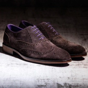 Brown Suede Italian Leather Brogue - Meteor 1