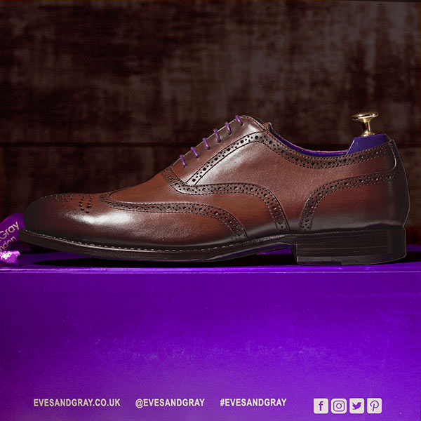 Burnished Dark Brown Italian Leather Goodyear Welted Brogue - Vickers 4
