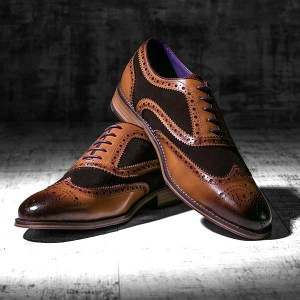 Burnished Tan Leather and brown Suede Brogue - Wellesley 1