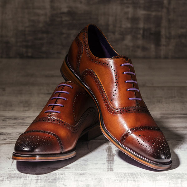 Rich, medium tan burnished Italian Leather Brogue - Balliol 2
