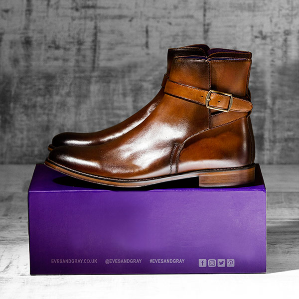 Burnished Tan Italian Leather Strapped Boot - Javelin 1