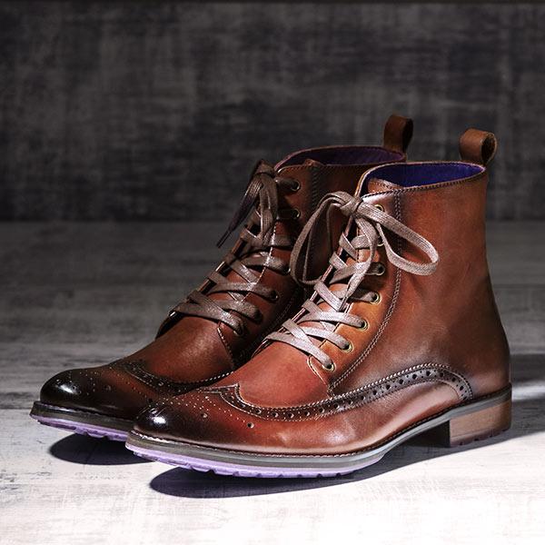 Burnished Tan Italian Leather Brogue Boot - Stearman 3