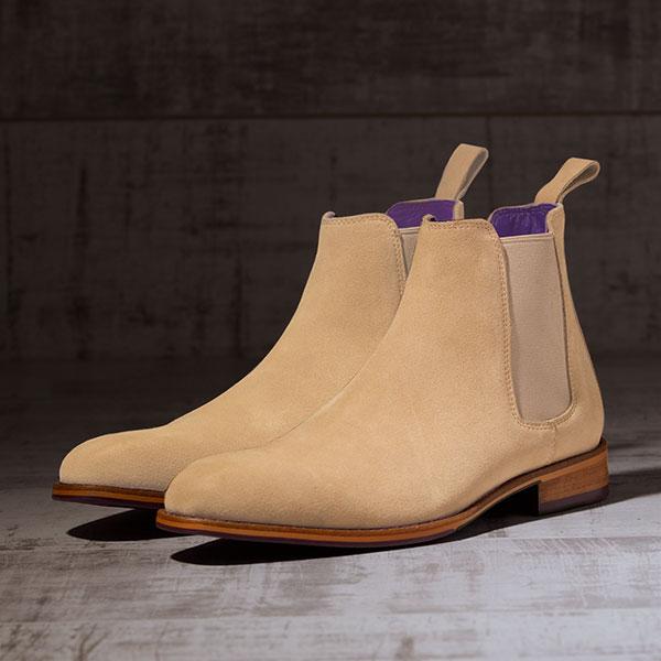 Italian Suede Leather Sandstone Chelsea Boot - Atlas 2