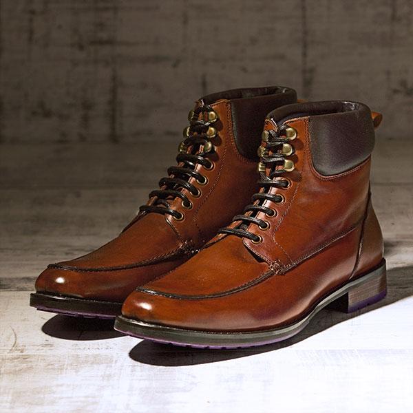 Dark Tan Italian leather Ankle Boot - Bison 3