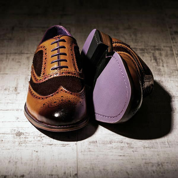Burnished Tan Leather and brown Suede Brogue - Wellesley 2