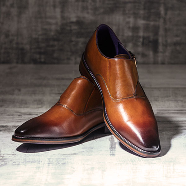 Burnished Italian Tan Leather uppers with Single Monkstrap - Luscombe 3