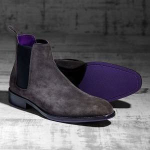 Italian Suede Leather Charcoaol Chelsea Boot - Atlas 1