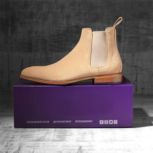 Italian Suede Leather Sandstone Chelsea Boot - Atlas 1