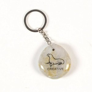 Inspirational Stone Keychain with Seal – Creative