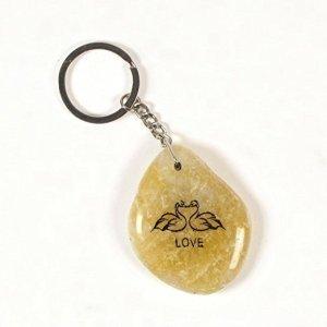 Inspirational Stone Keychain with Swans – Love
