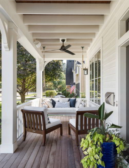 Covered Front Deck with a Swing