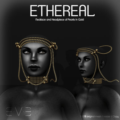E.V.E ETHEREAL Necklace and Headpiece of Pearls Gold