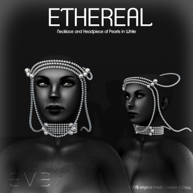 E.V.E ETHEREAL Necklace and Headpiece of Pearls White