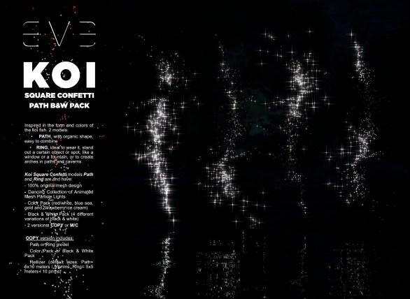 E.V.E {V} KOI Square Confetti Path Black and Whites Pack