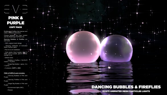 E.V.E {V} Dancing Bubbles and Fireflies {Pink and Purple Pack}