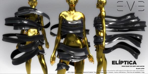 E.V.E {V} Eliptica Wrap Band Top, Skirt and Garter Black Latex
