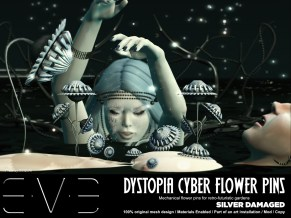 E.V.E {V} Dystopia Cyber Flower Pins Silver