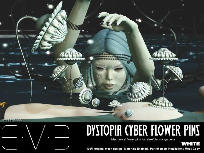 E.V.E {V} Dystopia Cyber Flower Pins White