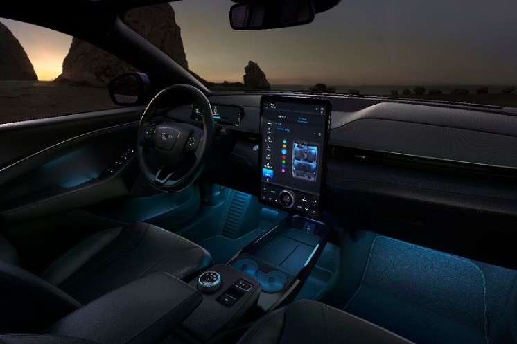 Mustang Mach-E include custom-designed vehicle responsiveness such as sportier steering controls, ambient lighting, sounds tuned for an authentic all-electric experience, and dynamic cluster animations