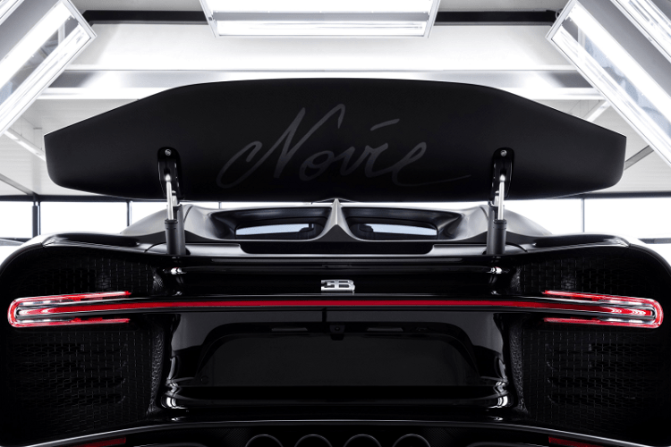 Bugatti Chiron Edition Noire Sportive with rear wing deployed