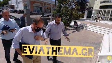 Ο Υπουργός Υποδομών Κώστας Καραμανλής με τον Περιφερειάρχη Φάνη Σπανό στο Διοικητήριο της Χαλκίδας