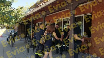Η Κωνσταντίνα Καραμπατσόλη στο Εθελοντικό Πυροσβεστικό Κλιμάκιο στα Ψαχνά