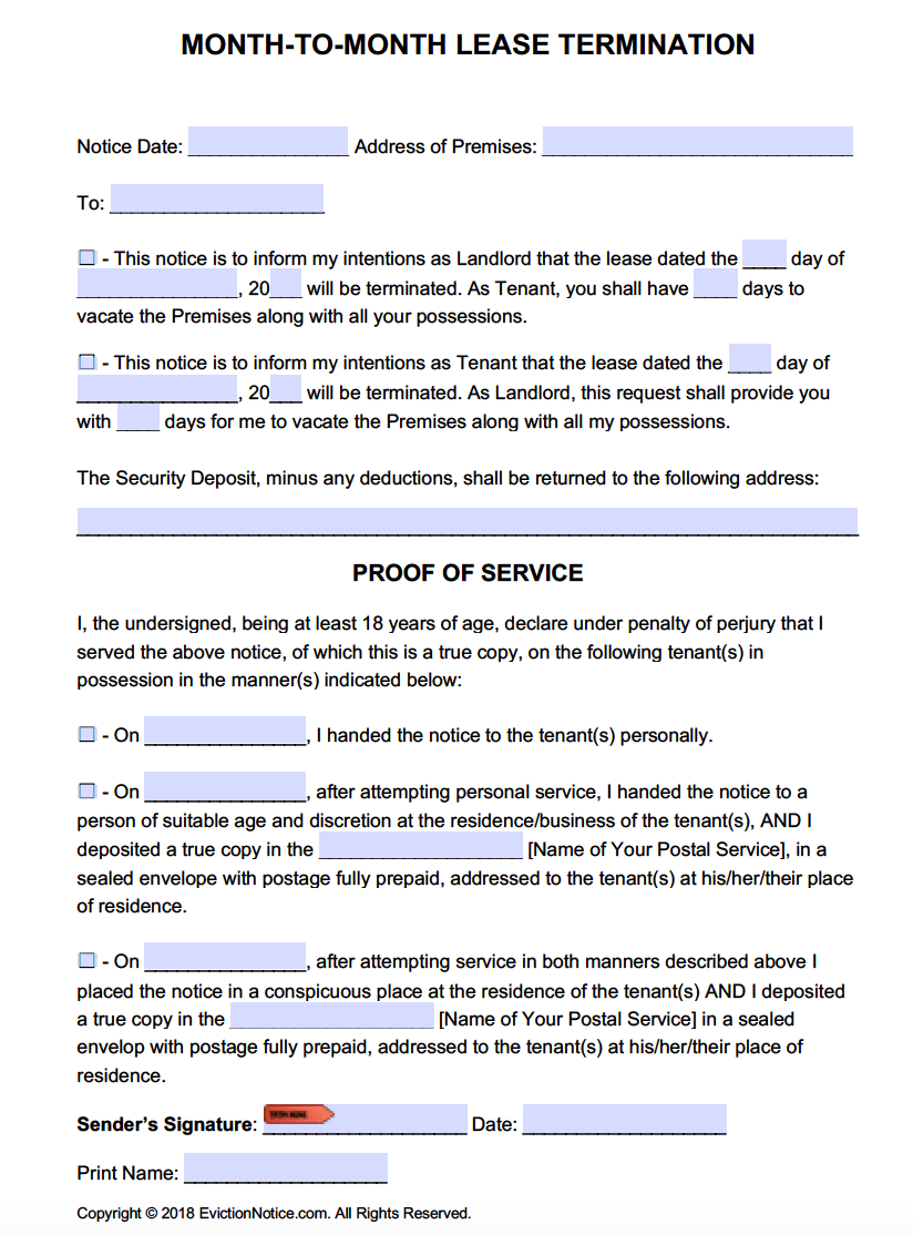 60 Day Notice Move Out Template