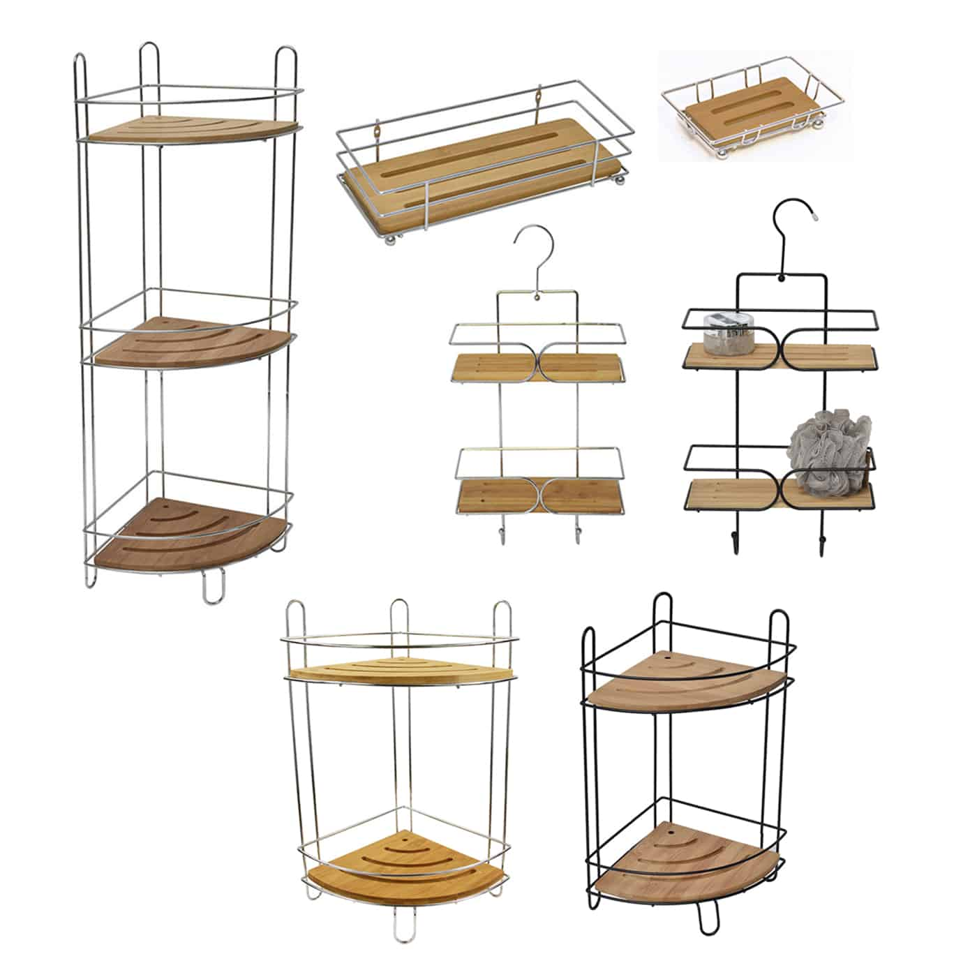 Evideco Free Standing Metal Wire Corner Shower Caddy With 2 Bamboo Shelves Color Brown