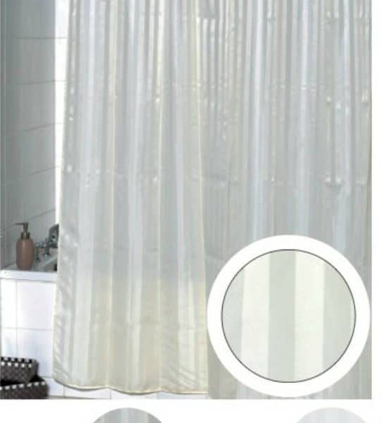 stripes vertical polyester fabric shower curtain off white